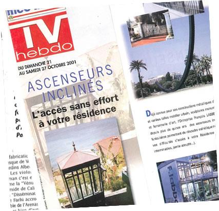 Article de TV Hebdo sur les ascenseurs inclinés François Labbé