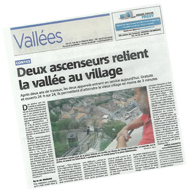 Vignette article Nice Matin ascenseurs inclinés à Contes